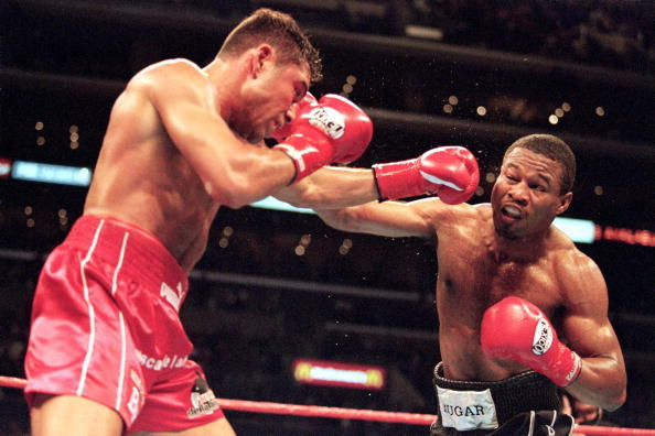 Sugar Shane Mosley lands a right punch